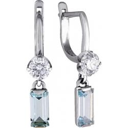 Серьги с топазом и бриллиантом