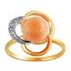 Кольцо с кораллом и бриллиантами