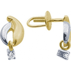 Серьги пусеты (гвоздики) с бриллиантом