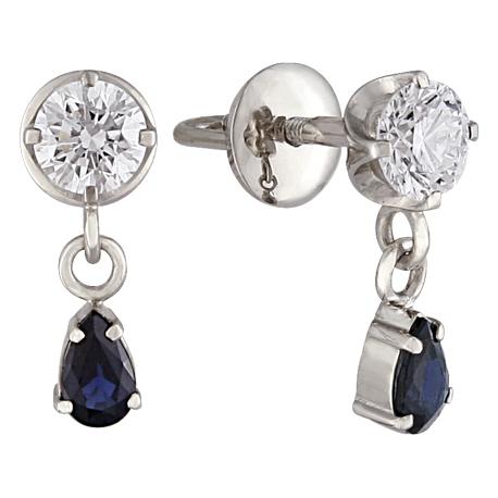 Серьги пусеты (гвоздики) с сапфиром и бриллиантом