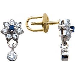 Серьги пусеты (гвоздики) с сапфиром и бриллиантами