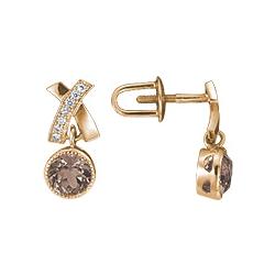 Серьги пусеты (гвоздики) с кварцем и бриллиантами