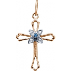 Крест с сапфиром и бриллиантами