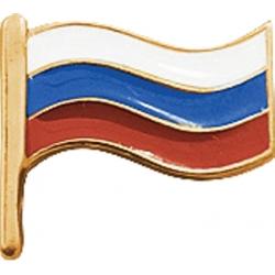 Значок серебряный флаг России