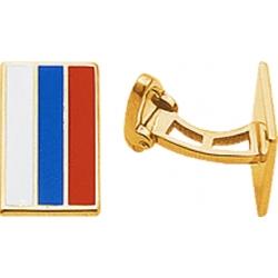 Запонки серебряные с флагом России