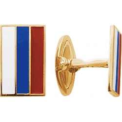 Запонки золотые с флагом России