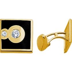 Запонки с бриллиантами и эмалью