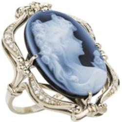 Кольцо с агатом и бриллиантами