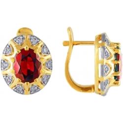 Серьги с рубином и бриллиантами