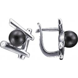 Серьги с черным жемчугом и бриллиантом