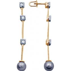 Серьги пусеты (гвоздики) с черным жемчугом и бриллиантами
