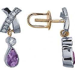 Серьги пусеты (гвоздики) с аметистом и бриллиантами