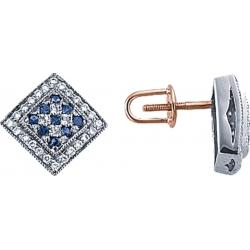 Серьги пусеты (гвоздики) с сапфирами и бриллиантами