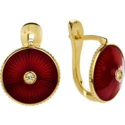 Серьги с бриллиантом и красной эмалью