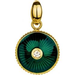 Подвеска с бриллиантом и зеленой эмалью
