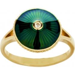 Кольцо с бриллиантом и зеленой эмалью