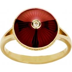Кольцо с бриллиантом и красной эмалью