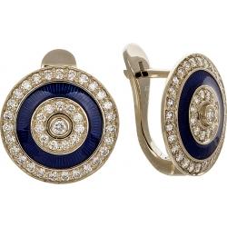 Серьги с бриллиантами и синей эмалью