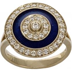 Кольцо с бриллиантами и синей эмалью