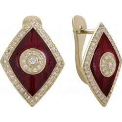 Серьги с бриллиантами и красной эмалью