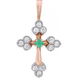 Крест с изумрудом и бриллиантами