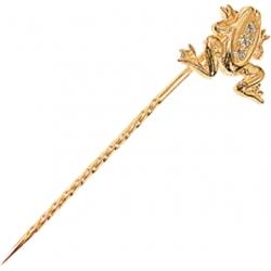 Булавка золотая с фианитами Лягушка